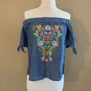 chambray off shoulder floral top